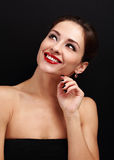 Beautiful makeup woman looking up and thinking Royalty Free Stock Photography