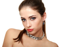 Beautiful makeup woman in necklace isolated Royalty Free Stock Photos