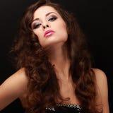Beautiful makeup woman with pink lipstick Stock Photos