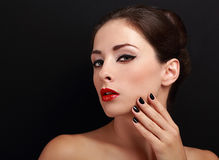 Beautiful makeup woman with red lips and black nails Fotografia Stock