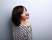 Beautiful makeup woman with short hair style posing in casual cl Royalty Free Stock Images