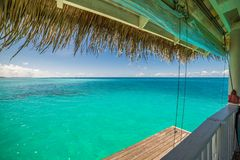 Overwater luxurious spa in the tropical blue lagoon of Maldives stock image