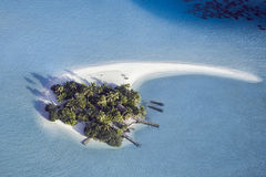 Beautiful maldivian white sand island, view from above.  Stock Photography