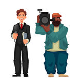 Beautiful male journalist, operator. Beautiful male journalist, reporter and operator, cartoon style vector illustration isolated on white background. Full Stock Photography