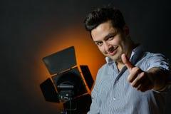 Beautiful male model posing at studio Stock Photography