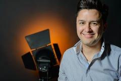 Beautiful male model posing at studio Stock Images