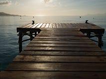 Beautiful Mallorca landmark - wooden pier in Playa de Muro Royalty Free Stock Images