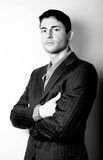 Beautiful man in elegant grey suit Stock Image