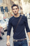 Beautiful man model outdoor with casual outfit Royalty Free Stock Images