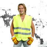 Beautiful man in safety constuction working outfit Stock Photo