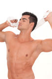 Beautiful man with slip and towel Stock Images