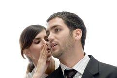 beautiful man something telling to woman Στοκ Φωτογραφία