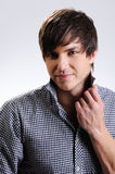 Beautiful man  with straight hairstyle Royalty Free Stock Photo