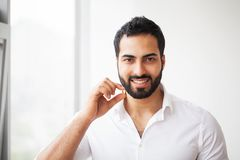 Beautiful Man Taking Pill, Medicine. Vitamins And Supplements.  royalty free stock photography