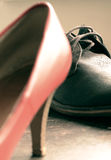 Beautiful man and woman shoes. Classic design stock photography