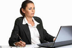 Beautiful manager works with laptop Stock Photo