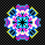Beautiful mandala of pixels on a black background Stock Images