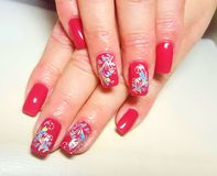 Beautiful manicure 3. Beautiful manicure on the hands. Female hands stock image