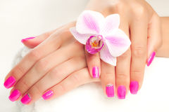 Beautiful manicure with pink orchid and towel Royalty Free Stock Photo