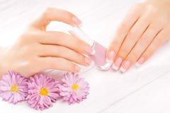 Beautiful manicure on white Royalty Free Stock Photo