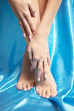 Beautiful manicured feet with a neat pedicure Royalty Free Stock Images