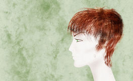 Beautiful mannequin. Beautiful androgynous mannequin with wispy hair collage, paper texture Royalty Free Stock Image