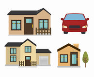 beautiful mansion and car  isolated icon design Stock Images