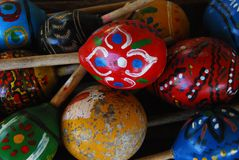 Guatemala- Close Up of Colorful Antique Maracas in a Rancho stock photos