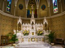 Beautiful Marble Alter at Saint Andrew`s Catholic Church. Roanoke, VA, May 25th: Marble alter in the beautiful Saint Andrew's Catholic Church located in Roanoke royalty free stock photo