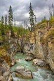 Narrows at Marble Canyon at Kootenay National Park in Canadian R royalty free stock image