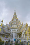 Beautiful marble church/temple Wat Sothorn, Chachoengsao with sky background. Royalty Free Stock Photography
