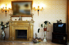 Beautiful marble fireplace Stock Photography