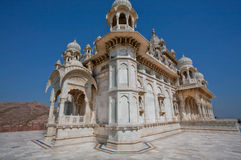 Beautiful marble white Jaswant Thada mausoleum built in 1899. In memory of indian king Maharaja Jaswant Singh II, Jodhpur, India. Perfect blending of Islamic Stock Photography