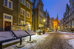Beautiful Mariacka street in Gdansk at snowy winter. Poland Royalty Free Stock Images