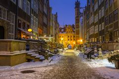 Beautiful Mariacka street in Gdansk at snowy winter. Poland Stock Photography