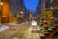 Beautiful Mariacka street in Gdansk at snowy winter. Poland Royalty Free Stock Image