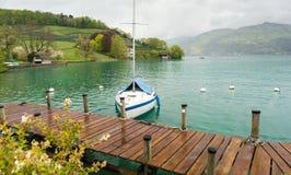 Beautiful marina over Thunersee, Spiez, Switzerland Stock Images
