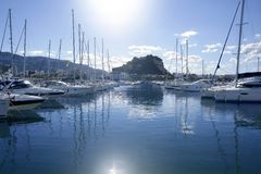 Beautiful marina, sailboats and motorboats Royalty Free Stock Photography