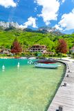 Beautiful marina in Talloires on Lake Annecy in France stock image