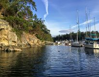 A beautiful marina on Tugboat Island, one of many beautiful places in the Gulf Islands stock photos