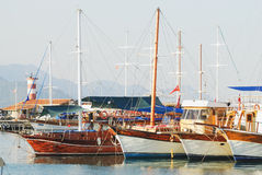 Beautiful marina view, sailboats in harbor. Kemer, Turkey, Antalya Royalty Free Stock Photography