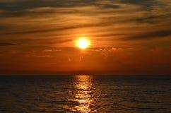 Beautiful maroon sunset on lake Baikal Royalty Free Stock Photography