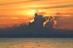 Beautiful maroon sunset on lake Baikal Stock Images