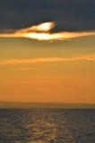 Beautiful maroon sunset on lake Baikal Royalty Free Stock Images