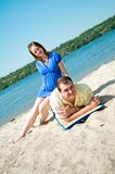 Beautiful married couple on the beach Royalty Free Stock Images