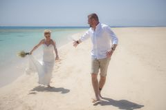 Beautiful married couple on a tropical beach wedding day Royalty Free Stock Photography