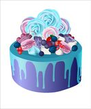 Beautiful marshmallow cake biscuits berries icing strawberries blackberry cookies stock illustration