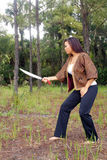 Beautiful Martial Artist Outdoors (2) Royalty Free Stock Photography