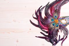 Beautiful mask of feathers light board Royalty Free Stock Image