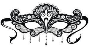 Beautiful mask of lace. Mardi Gras vector background. Mardi gras lace mask.Black and white vector illustration